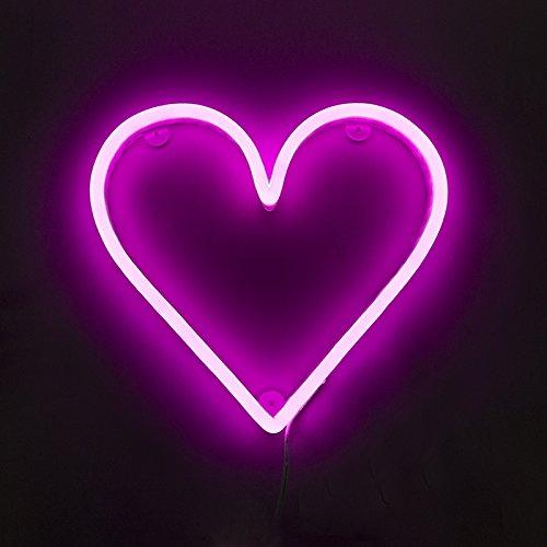 QAZQA Design/Modern Rosa Wandleuchte mit Fernbedienung inkl. LED - Neon Herz Dimmer/Dimmbar/Innenbeleuchtung/Wohnzimmerlampe/Schlafzimmer/Küche Kunststoff Andere / (nicht austauschbare) LED