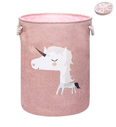 Mdsfe Großer zusammenklappbarer Wäschekorb mit Deckel Spielzeug Aufbewahrungskörbe Behälter für Kinder Hundespielzeug Kleidung Veranstalter Netter Tier Wäsche Eimer - Einhorn