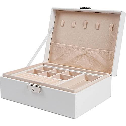 2 capas Caja Joyero Cuero PU de gran capacidad Caja Organizadora de Joyas con cerradura Caja de Joyas Pantalla portátil para anillos, pendientes, collares, pulseras-Blanco