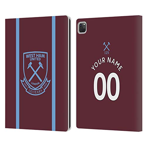 Custom Customised Personalised West Ham United FC Home 2020/21 Kit Leather Book Wallet Case Cover Compatible For Apple iPad Pro 12.9 (2020)