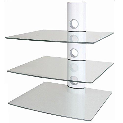 NEG Multimedia TV-Rack Suspender 503W (weiß) mit 3 Glas-Ablagen und Kabelmanagement-System