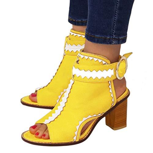 Damessandalen met hoge hakken Mode-sandalen met PU-blokhak en colorblock-gesp