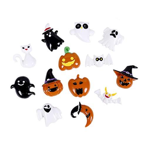 STOBOK Accesorios de Resina de Bricolaje Fantasma de Calavera de Calabaza de Halloween de Bricolaje para Hacer Manualidades decoración de Fiesta,30 Piezas