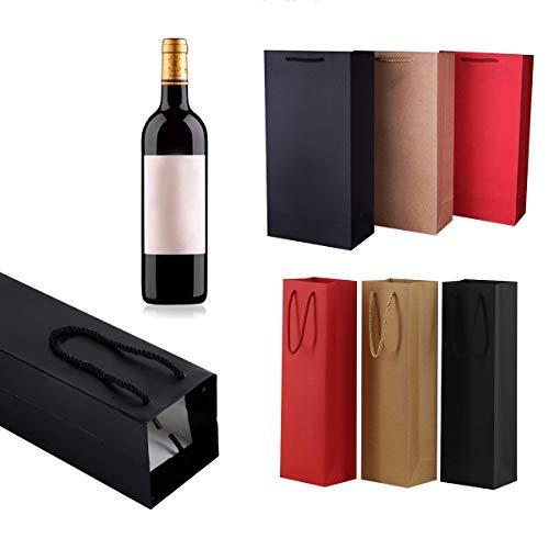 Xiuyer Bolsas Botellas Vino Pequeñas, 12pcs Kraft Resistente Bolsas Papel Botellas Vino Embalaje Regalo con Asas Cuerda para Prosecco Champán