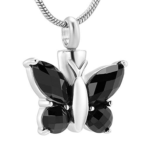 QQJJSUDIW Collar De Recuerdo De Cenizas Conmemorativas Unique Black Crystal Butterfly Cremation Jewelry Stainless Steel Souvenir Memorial Urn Pet Lover Necklace
