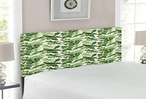 Lunarable Green Headboard, Exotic Tropic Pattern with Palm Leaves Breadfruits Plumeria Flowers and Parrots, Upholstered Decorative Metal Bed Headboard with Memory Foam, Full Size, Lime Green Cream