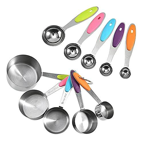 GODPAJ - Cuchara medidora de 10 piezas y taza, acero inoxidable, conjunto de cucharas dosificadoras, utensilios de cocina