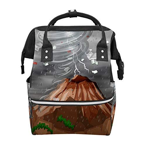 Cyclone Hit The Mountain School Mochila de gran capacidad para momia, portátil, bolso de mano, mochila de viaje, para mujeres, hombres, adultos, adolescentes y niños