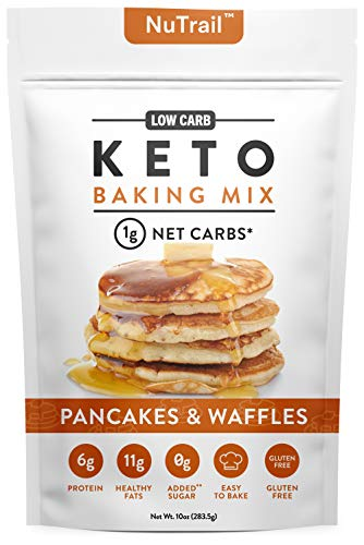 NuTrail™ - Keto Pancake & Waffles Low Carb Food Baking Mix | 1g Net Carb Per Serving | Gluten Free | No Added Sugar | Perfect Easy to Bake Breakfast Pancakes (10 ounce)