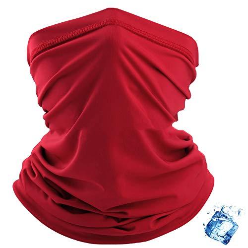 Rpanle Nahtlose Halsmanschette Multifunktionale Kopfbedeckung Bandana - Elastic Tube Magic Stirnband Sturmhaube UV-Residenz Balaclava für Yoga Laufen Wandern Radfahren-rot