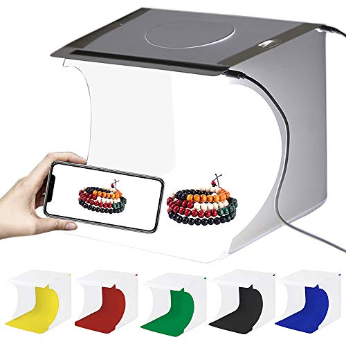 Gobesty Mini Fotostudio Schießzelt, 20 x 20cm Tragbar Faltbar Fotografie Studio Lichtbox Softbox Kit Zelt, Foto Studio Zelt mit 6 Farben Hintergrundtüchern, für Kleiner Gegenstand Fotografie