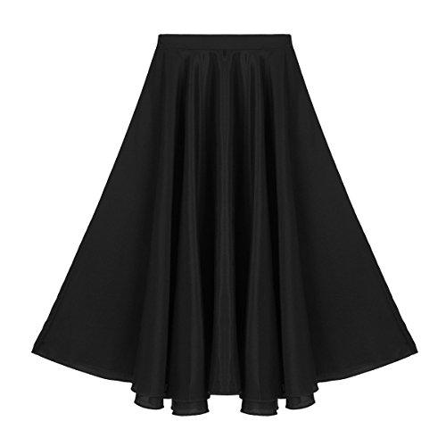 iiniim Falda Larga de Danza Ballet Balie Moderno para Niñas Traje de Danza Flamenco Sevillanas Tango Vals Vestido Largo Falda Maxi Círculo Completo Plisada Elegante Vintaje Negro 6