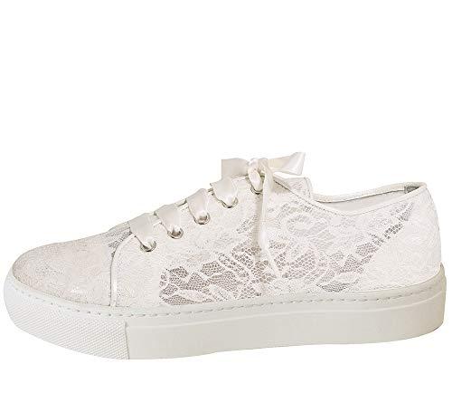 Fiarucci Brautschuhe Nelli - Damen Sneaker gepolstert, Ivory/Creme, Leder - Gr. 42 (UK 9)