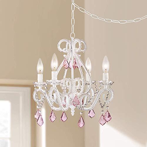 Saint Mossi® Design Modern Elegantes Kronleuchter Kristall Glas Deckenleuchte Höhe 45 x Länge 40cm 4 * E14 Base Bulbs Erforderlich mit Rosa Kristalltröpfchen