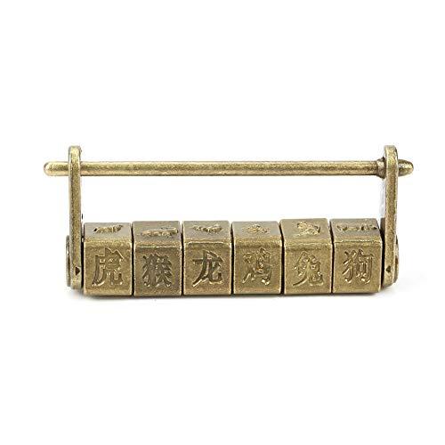 Hilitand - Candado con contraseña de caracteres chinos, vintage, clásico, del zodiaco, para armario, joyero o caja de madera
