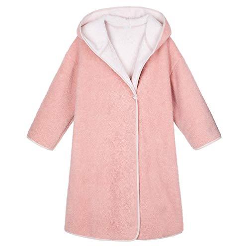 LFNIU Pijamas extendidos con capucha de terciopelo de cordero rosa para mujer, albornoz grueso de otoño e invierno, albornoz de terciopelo coral, servicio a domicilio