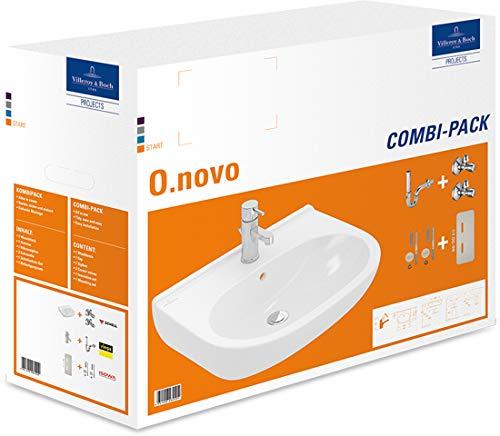 Villeroy Boch Waschtisch Combi-Pack Oval O.novo, AntiBac - Mit Armatur, Eckventil, Siphon, Schallschutz Set, Befestigung 5160S1