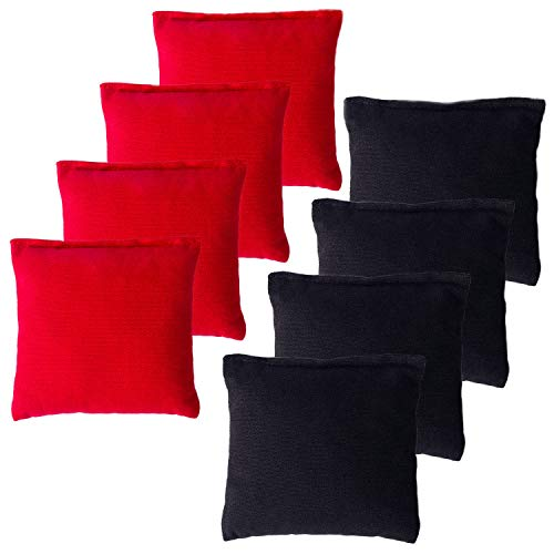 YAADUO Set of 8 Regulation Cornhole Bags, Duck Cloth Double Stiched - Standard Corn Hole Bean Bags for Tossing Game, Includes Tote Bags (Black/Red)