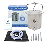 TopQuaFocus Enema Bucket Kit - Suitable for Coffee, Water and Gerson Therapy - Stainless Steel Non Toxic 2 Qt for Home Use - Durable Colon Cleansing Enema Kit