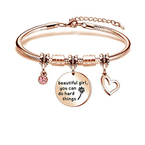 Kraven Inspirational Jewellery Gift Bracelets Bangles Adjustable Snake Bangle Rose Gold Jewellery Family Christmas Gifts For Women Teenage Girls Beautiful Girl You Can Do Hard Things
