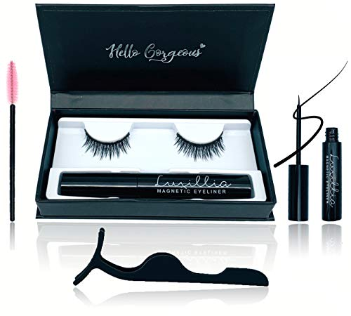 5D Magnetic Eyelashes with Eyeliner Kit Free Tweezers and Brush - Magnetic Lashes set with Most Natural Look, Best Quality Eyelash Magnets, Reusable flase lash, Waterproof Liquid Magnetic Eye Liner