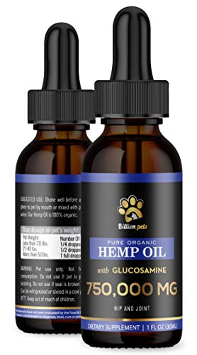 Billion Pets Hemp Oil for Dogs and Cats – Glucosamine for Dogs – Made in USA – Hip and Joint Support – Dog Anxiety…