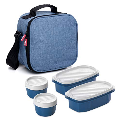 Tatay Urban Food Casual, Borsa Termica Porta Pranzo, 3L Capacità, con 4 Contenitori Alimentari, 2 x 0.5 L, 2 x 0.2 L, senza BPA, Blu (Denim), 22.5 x 10 x 22 cm
