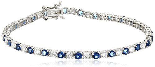 Sterling Silver Alternating Sapphire and White Prong Set AAA Cubic Zirconia Tennis Bracelet, 7.5' (5.9 cttw)