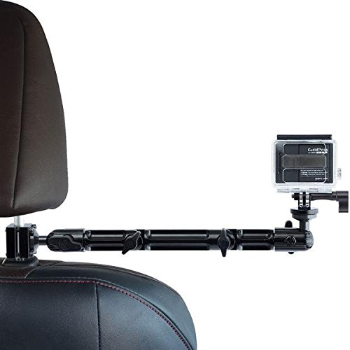 Action Camera Headrest Mount - Tackform DrivePro Best Car Mount for Recording Racing Video [Super Rigid Design] No Shake, No Rattle, Compatible with GoPro and Other Action Cameras