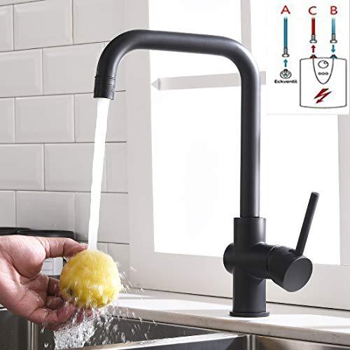 TIMACO Niederdruck Küchenarmatur Schwarz Wasserhahn Einhebel Spültischarmatur 360° Schwenkbar Küche Armatur