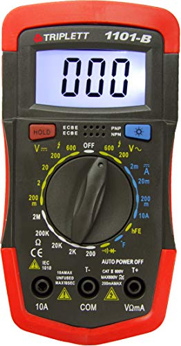 Triplett Compact CAT II 1999 Count Digital Multimeter - AC/DC Voltage, AC/DC Current, Resistance, Temperature, Continuity, Diode Check, and Transistor Check (1101-B)