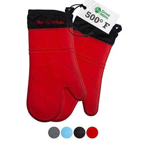 Ofenhandschuhe Silikon und Topflappen - Grill Handschuh - 1 Paar extra lange hitzebeständige Handschuhe - lebensmittelecht - BPA-frei - FDA-zugelassen mit weichem Innenfutter - Rot