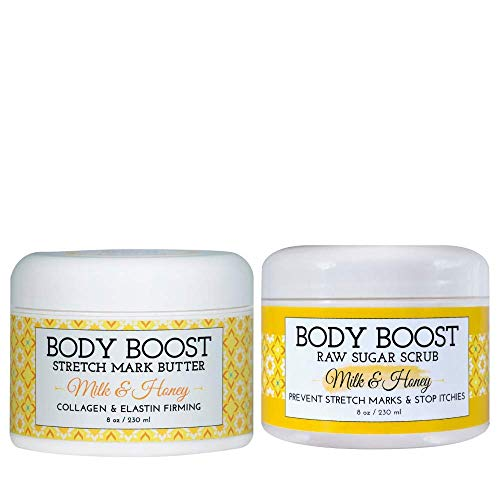 Body Boost Milk and Honey Stretch Mark Butter and Sugar Scrub Duo