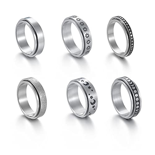 SUPYINI Juego de 6 anillos de acero inoxidable para mujer, anillo giratorio, triple interlocked Rolling Flower Moon Ring Celtic Stress Relieving Wedding Promise Rings
