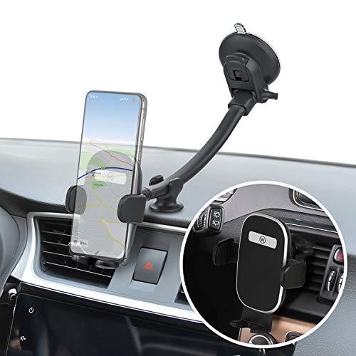 Wicked Chili Soporte para teléfono móvil 2 en 1 (Extra Largo 22cm, sin Vibraciones) para Camiones, Furgonetas, autocaravanas, Coches, con estabilizador de salpicadero + Soporte de ventilación
