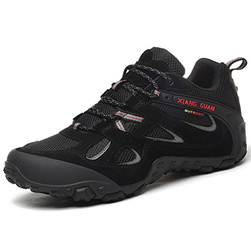 XIANG GUAN Hommes Mesh Respirant Outdoor Off-Road Randonnée Trekking Camping Chaussures Suede Casual Sneakers Lace-up Low-Top Sports Athletic Chaussures (41 EU, Noir)