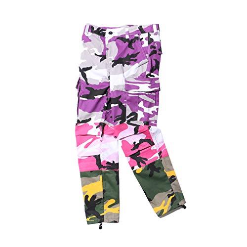 Yying Tri Color Camo Patchwork Cargo Pantalones Hombre Mujer Hip Hop Casual Camuflaje Pantalones Moda Streetwear Joggers Pantalones Deportivos Purple + Pink + Yellow S