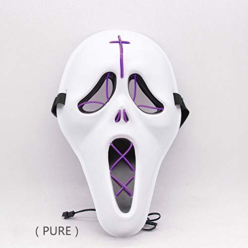 Máscara Facial de Halloween máscara Brillante led Fiesta de Disfraces de gritos máscara de luz fría Multicolor Opcional 31 * 18cm Púrpura.