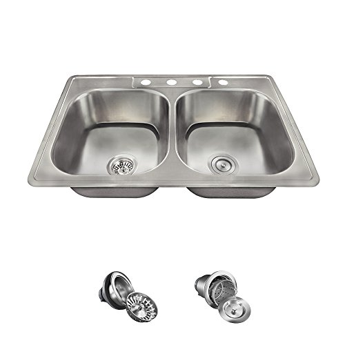 US1022T Topmount Double Equal Bowl Stainless Steel Sink, Ensemble