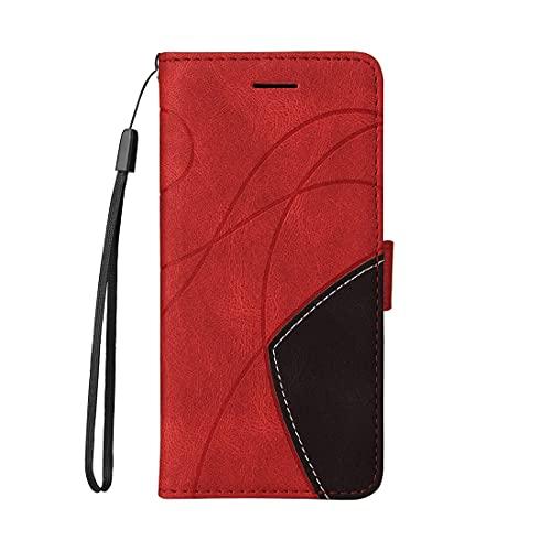 Hülle für Oppo F7, Gespleißtes zweifarbiges PU-Leder Geldbörsen Schutzhülle, 3 Kartenfächern Stoßfeste Flip Handyhülle für Oppo F7 Hülle-Rot