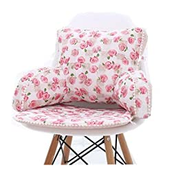 Pink roses design Pattern back rest reading pillow with arms