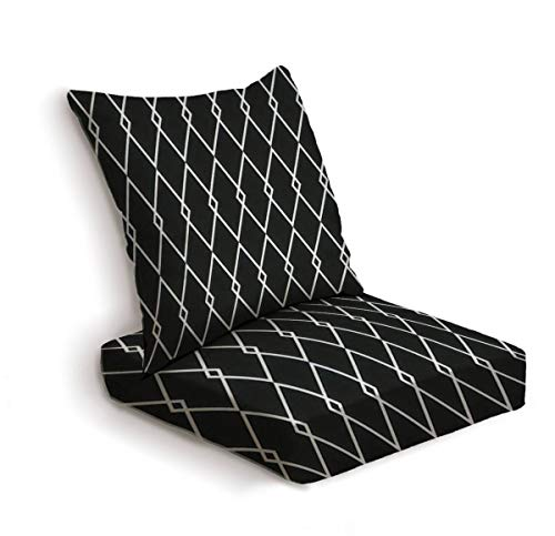 ONENPENRI 2-Piece Outdoor Deep Seat Cushion Set Tile Black and White Vector Pattern or Website Background Back Seat Lounge Chair Conversation Cushion for Patio Furniture Replacement Seating Cushion