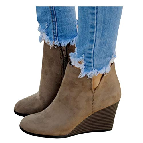 Meikosks Women's Wedges Ankle Booties Retro V Cutout Comfy Short Boots Flock Leather Zip Closure Stacked Chunky Block Heels Shoes Khaki
