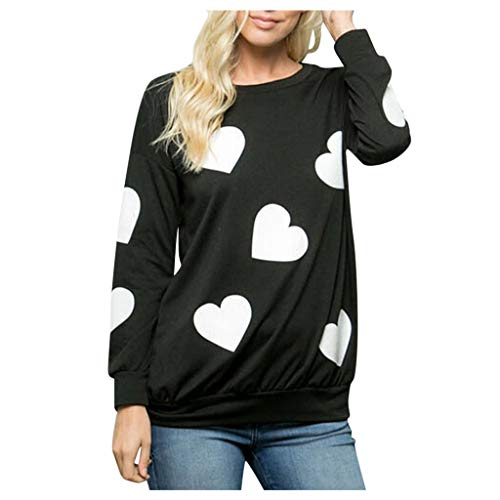 Auifor lange mouw voor vrouwen met hart-print blouse-O aanzet valentines casual wilde T-shirt sweatshirt