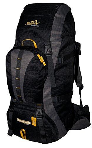 Trekking Zaino 65L + 10litri di volume supplementare TASHEV Summit 75litri zaino da escursionismo, Nero & Giallo (giallo) - SUMMIT 65