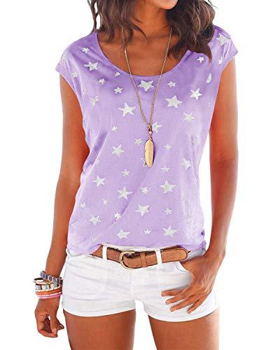 YOINS T-Shirt Damen Shirt Oberteile Sexy Oberteil für Damen Tops Langarm Sommer Herbst Rundhals mit Sterne (M, lila)