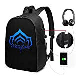 Durable Waterproof Bookbag Warframe Logo Laptop Backpack 17-Inch Bag With Usb Charging Port & Headphone Port Travel Backpacks