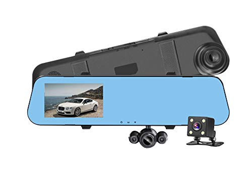 Umootek Car Dash Cam, Full HD 1080P, 4.0 inch HD Display Screen, 3 Lens Rear View Mirror Car DVR, Driving Video Recorder Vehicle Blackbox with G-Sensor, Motion detection, Up to 32GB Support