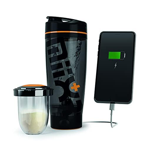 PROMiXX - MiiXR+ PLUS Device-Charging Electric Protein Shaker Bottle, Powerful Vortex Mixer Bottle for Smooth Shakes & Supplements, Bottle Blender, Shake Bottle Mixer, 20oz Tritan Cup (Black/Orange)