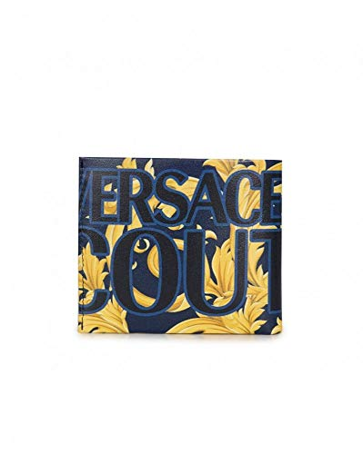 Versace Jeans Couture Accessories Baroque Print Leather Billfold Wallet One Size NAVY